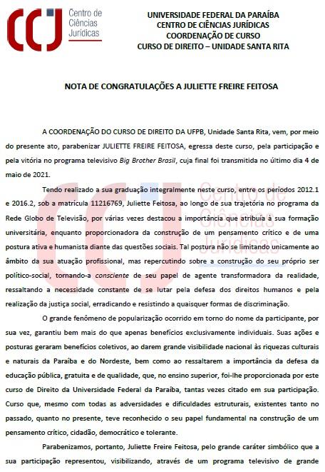 A Coordenação do Curso de Direito da UFPB parabeniza ...